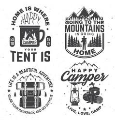 Set happy camper outdoor adventure symbol vector