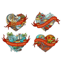 Set of four hearts vector