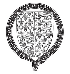 shield of edward iii is a heraldic shield vintage vector image