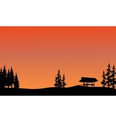 Silhouette of gazebo and spruce vector image