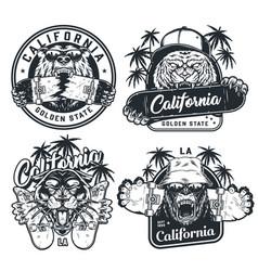 skateboarding vintage labels vector image