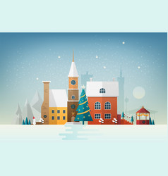 small european town in snowfall snowy cityscape vector image