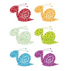 snail flowers set vector image