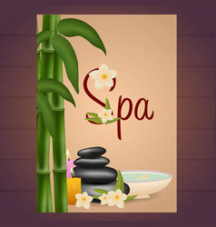 spa salon poster with stones thai massage wood vector image