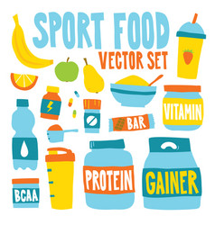 sport food nutrition objects vector image