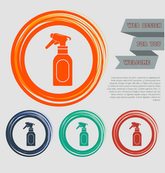 spray icon on red blue green orange buttons vector image