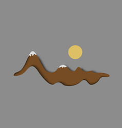 Stylized paper snowy mountain with sun vector