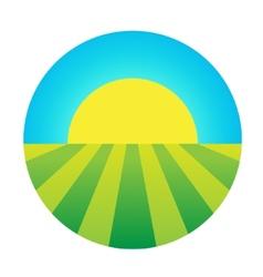 sun rising under field icon vector image