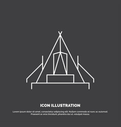 Tent camping camp campsite outdoor icon line vector