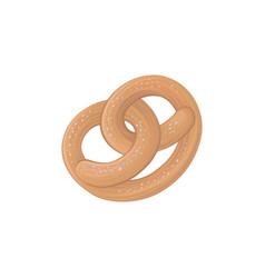 Traditional german salty pretzel flat cartoon vector