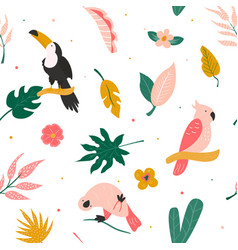 tropical seamless pattern with birds and leaves vector image