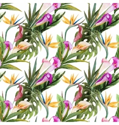 Tropical watercolor seamless pattern vector image