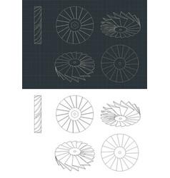 Turbine rotor drawings vector