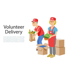 volunteers dellivery food in cardboard donation vector image