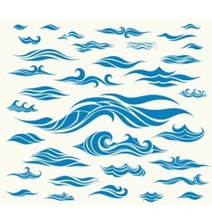 Waves set of elements for design vector