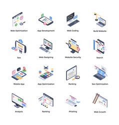 Web development isometric icons vector