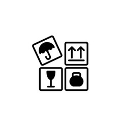 web line icon signs on packages black on white vector image