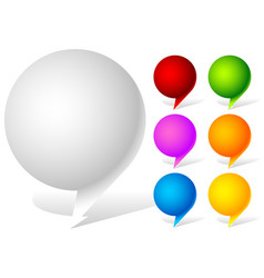 White and six vivid color speech talk bubbles vector