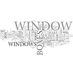 Window boxes text word cloud concept vector
