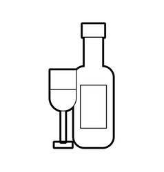 wine cup with bottle vector image