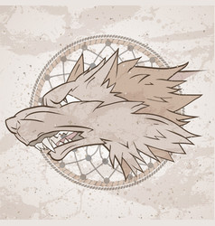 With wolfs head and dreamcatcher on grange vector