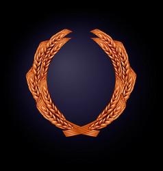 wreath wheat color bronze vector image