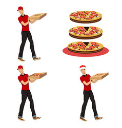 Young guy delivering pizza vector