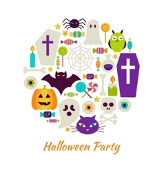 Halloween Party Objects over White vector image vector image