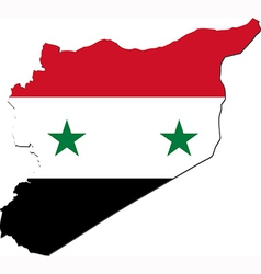 Map of Syria with national flag vector image