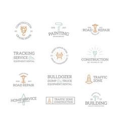 set of retro vintage construction logo or insignia vector image