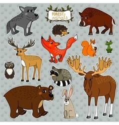 animals owl deer fox vector image