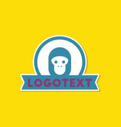 paper sticker on stylish background monkey logo vector image