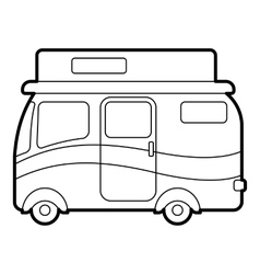 Traveling camper van icon outline style vector image