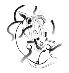 A horse a symbol of 2014 vector image vector image