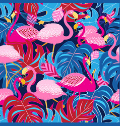 beautiful bright tropical pattern of pink vector image vector image