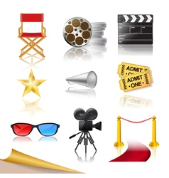 cinema icons vector image vector image