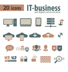 IT-bisiness and Digital Communication Icons vector image