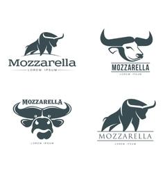 set of logos with buffalo mozzarella cheese vector image vector image