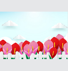 spring season concept wooden fence and flowers vector image