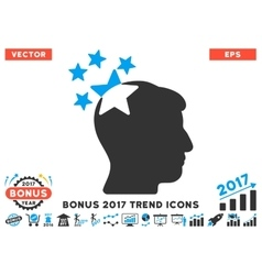 Stars Hit Head Flat Icon With 2017 Bonus Trend vector image