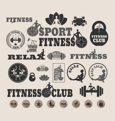 the set of fitness design elements vector image