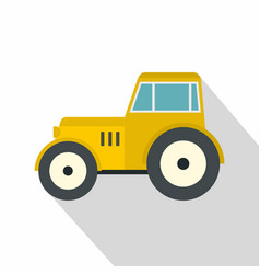 yellow tractor icon flat style vector image