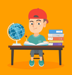 boy sitting at the desk and writing in notebook vector image vector image