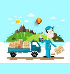 delivery service man with van car natural flat vector image vector image