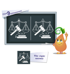 game find 9 differences justice vector image vector image