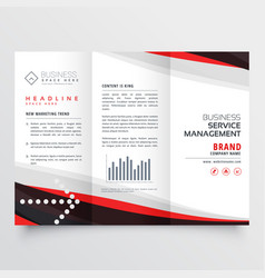 Red and black trifold brochure design for your vector