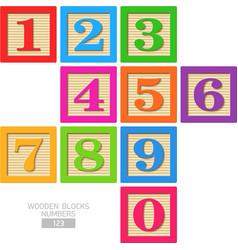 Wooden blocks numbers vector