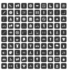 100 men health icons set black vector