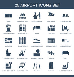 25 airport icons vector