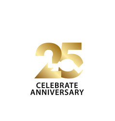 25 years anniversary celebrate gold template vector